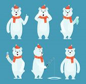 Polar Bear Cartoon. Ice Snow White Funny Wild Animal In Different Poses Vector Characters. White Bea poster