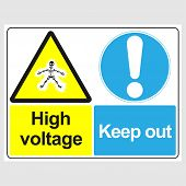 Plate: danger. High Voltage. Keep Out. Sign: danger. High Voltage. Keep Out On A Gray Background poster