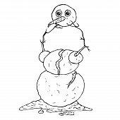 Snowman. Vector Of A Melted Snowman. Hand Drawn  Snowman Melted. poster