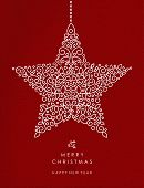 Merry Christmas And Happy New Year Art Deco Star Decoration Shape Made In Outline Monogram Style Wit poster