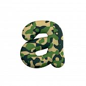 Army letter A - Small 3d Camo font isolated on white background. This alphabet is perfect for creati poster