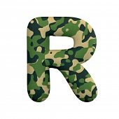 Army letter R - Capital 3d Camo font isolated on white background. This alphabet is perfect for crea poster