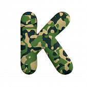 Army letter K - Large 3d Camo font isolated on white background. This alphabet is perfect for creati poster