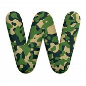 Army letter W - Uppercase 3d Camo font isolated on white background. This alphabet is perfect for cr poster