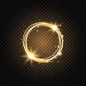 Light Golden Circle Banner. Abstract Light Background. Glowing Gold Circle Frame With Sparkles And S poster