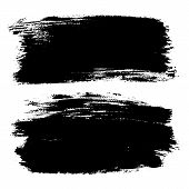 Vector Set Of Hand Drawn Brush Strokes, Stains For Backdrops. Monochrome Design Elements Set. One Co poster