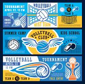 Volleyball Sport Game Tournament Banners Or Kids Sport School And Club Camp. Vector Design Of Volley poster