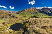 Diamond Lake in the Mt Aspiring National Park near Wanaka, New Zealand, seen from Rocky Mountain poster