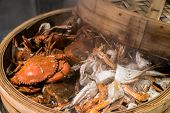 steam crab in cooking seafood steamer basket  poster