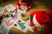 Kids Making Christmas Crafts, Draw And Colour, Family Celebration poster