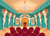 Dancing Hall With Atlas Pillars And Armchairs For Audience, Spectators. Interior Of Ballroom With Ti poster