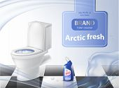 Poster Of Detergent, Cleaning Concept, Mock Up Of 3d Realistic Toilet Bowl, Liquid Disinfectant Adve poster