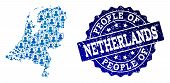 People Collage Of Blue Population Map Of Netherlands And Scratched Seal Stamp. Vector Seal With Scra poster
