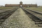 picture of auschwitz  - Railway lines running under the famous arched entrance to the Auschwitz II  - JPG