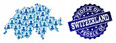 People Composition Of Blue Population Map Of Switzerland And Scratched Seal Stamp. Vector Seal With  poster