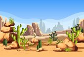 Canyon Scenery With Rocks And Hills, Cactus. Mexico Desert Landscape Or American Wildlife Nature At  poster