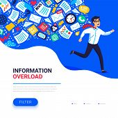 Information Overload Concept. Young Man Running Away From Information Stream Pursuing Him. Concept O poster