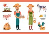 Cartoon Farm Clipart Collection With Farm Workers (man And Woman), Farm Animals (pig And Cow) And Bi poster