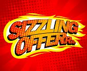 Sizzling offer sale design, pop-art style, raster version poster