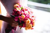 Bridal Bouquet In Rustic Place, For Use In Wedding Websites Or Blogs. poster