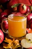 picture of cider apples  - A cup of hot apple cider surrounded by fresh fruits - JPG