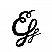 Handwritten Custom Ampersand On White Background.  Isolated. Vector Illustration. Great For Wedding  poster