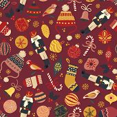 Vintage Christmas Seamless Vector Pattern Background. Nutcracker, Hat, Mitten, Stocking, Candy Cane, poster