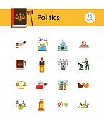 Politics Icon Set. Debates Politician Politics Leadership Vote White House Demonstration Election El poster