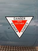 Stickers Sign On Plane Write In French Siège éjectable Danger Means Ejection Seat Danger poster
