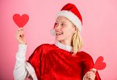 Spread Love Around. Girl In Love Happy Wear Santa Costume Celebrate Christmas Pink Background. Merry poster