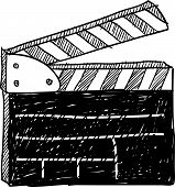 image of matinee  - Doodle style movie set clapperboard vector illustration - JPG