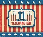 Vintage Vector Poster For Veterans Day. Retro Emblem For American Veterans Day poster