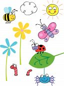 image of cartoon character  - Cartoon vector bugs and insects grouped on different layers - JPG