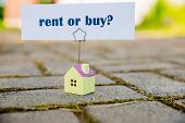 Buy Or Rent Property Concept. New House As Wish .text Message Buy Or Rent With Wooden Small House. B poster