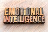 emotional intelligence - word abstract in vintage letterpress wood type poster