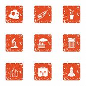 Scientific Tool Icons Set. Grunge Set Of 9 Scientific Tool Icons For Web Isolated On White Backgroun poster