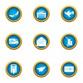 Coat Of Mail Icons Set. Flat Set Of 9 Coat Of Mail Icons For Web Isolated On White Background poster