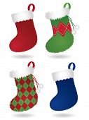 Four festive Christmas stockings: two traditional style stockings and two fuzzy, patterned stockings