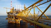 Oil and gas industry .Offshore construction platform for production oil and gas, Production platform poster