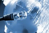 stock photo of utp  - Fiber optics background with lots of light spots - JPG