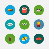 Nutrition Icons Set. Tamago Nigiri And Nutrition Icons With Sashimi, Rice Ball And Chopstick. Set Of poster