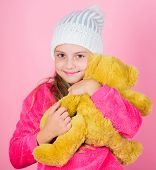 Teddy Bears Improve Psychological Wellbeing. Kid Little Girl Play With Soft Toy Teddy Bear Pink Back poster