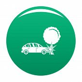 Crashed Tree Icon. Simple Illustration Of Crashed Tree Vector Icon For Any Design Green poster