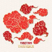 Chinese Or Tibetian Golden Outline And Red Vector Clouds Collection. Asian Oriental Artistic Tangka  poster
