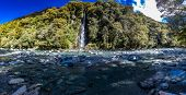 Thunder Creek Waterfall in Mt Aspiring National Park, Haast Pass, West Coast Region, South Island, N poster