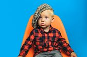 Adorable And Stylish. Small Child. Boy Child With Fashion Look. Small Baby In Fashionable Wear. Fash poster
