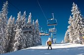 pic of winter sport  - winter mountain landscape with skiing slope - JPG