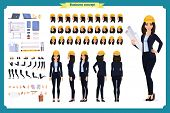 Woman Architect In Business Suit And Protective Helmet. Character Creation Set. Full Length, Differe poster