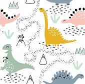 Childish Seamless Pattern With Dinosaurs, Volcano, Mountains And Tropical Plants. Hand Drawn Kids Te poster