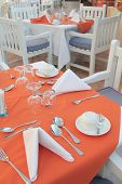 stock photo of table manners  - the outdoor restaurant table catering or cafe - JPG